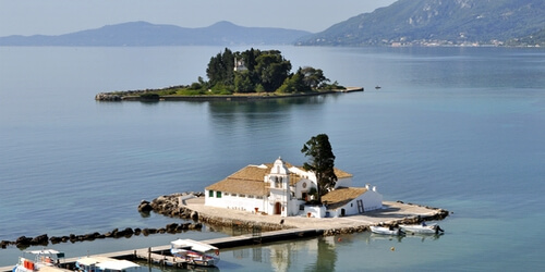 Pontikonisi island near Corfu town, also home of the monastery of Pantokrator