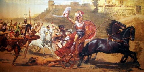 The famous painting of Achilles carrying the dead body of Hector