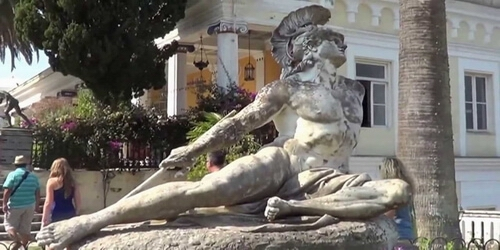 Dying Achilles, the most valuable statue of Achilleion represents Achilles dying trying to remove the spear from his ankle